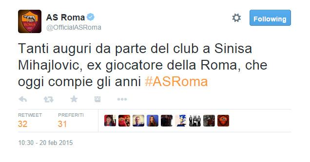 Gli auguri della Roma a Miha