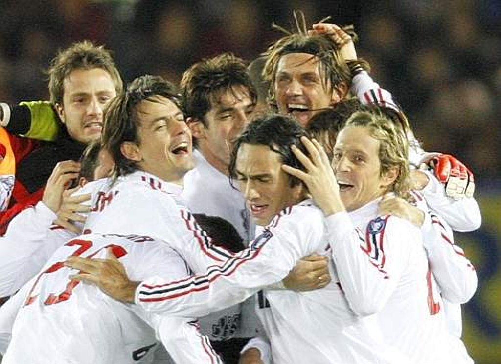 Italian club AC Milan's players celebrate their victory over Argentine club Boca Juniors at the FIFA Club World Cup Japan 2007 final soccer match in Yokohama